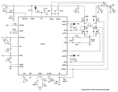Типичная схема приложения на основе LM5176: Uвх= 6 В … 50 В, Uвых =12 В, Iвых = 6 A