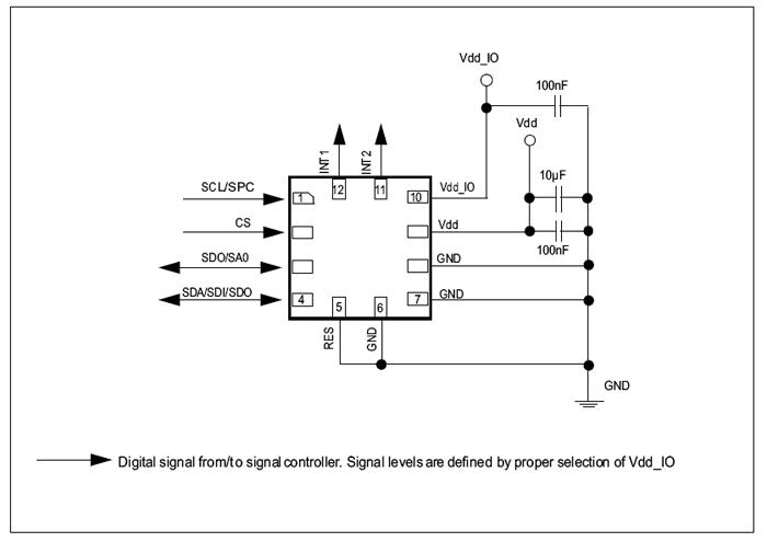Электрические подключения к чипу IIS2DH