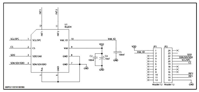 Схема принципиальная электрическая оценочной платы STEVAL-MKI168V1