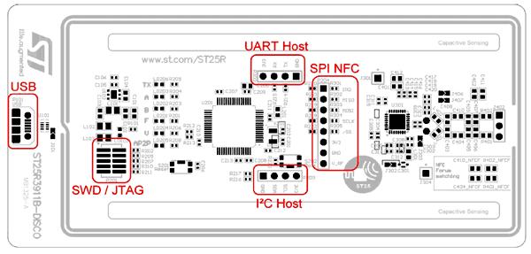 Интерфейсы на плате ST25R3911B-DISCO