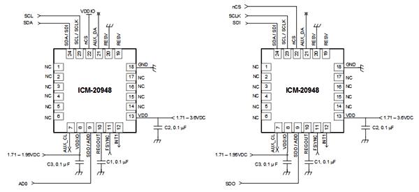 Схема включения ICM-20948 для работы с I2C (слева) и SPI (справа) интерфейсом
