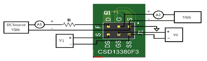 Пример установки для тестирования транзистора CSD13380F3