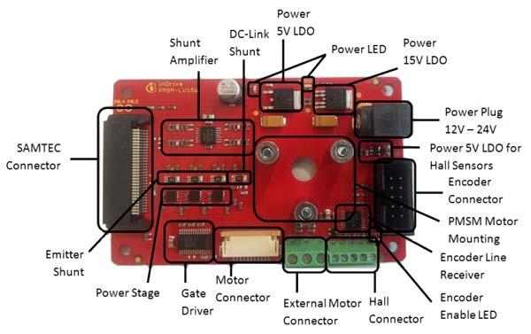 Плата PMSM-LV-15W двигателя и ее основные компоненты