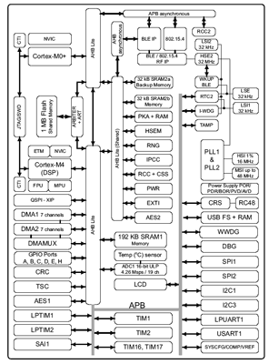 Структурная схема микроконтроллера STM32WB