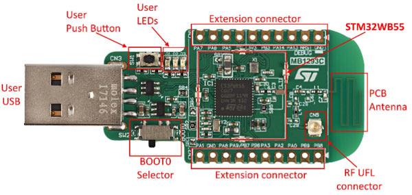 Ключевые компоненты платы USB dongle (вид сверху)