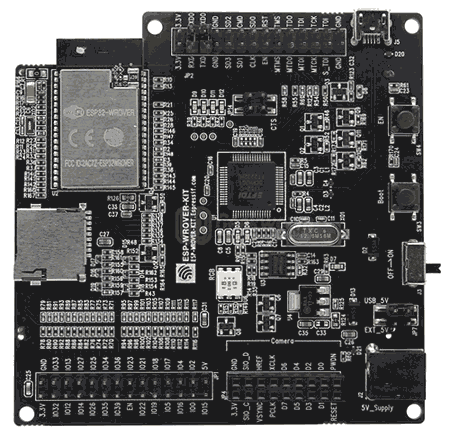 Отладочная плата ESP-WROVER-KIT V4.1. Вид со стороны модуля ESP32-WROVER