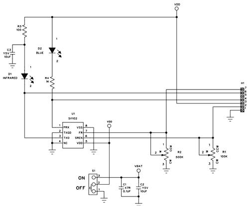 Схема принципиальная электрическая оценочной платы Si1102EB
