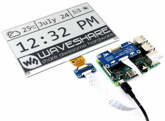 Использование платы драйвера e-Paper Driver HAT с дисплеем и платой Raspberry Pi