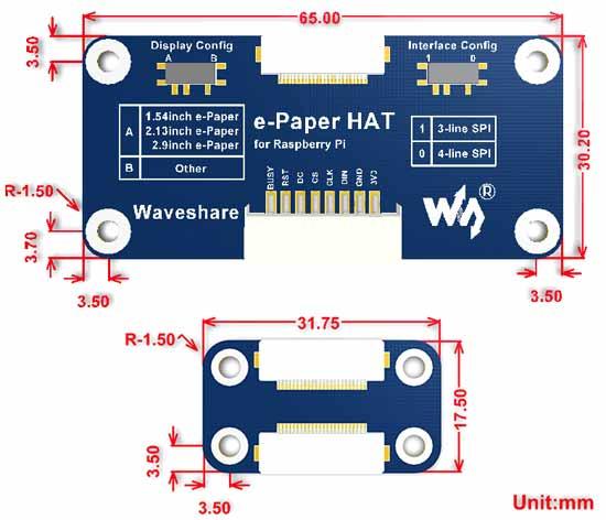 Размеры изделия e-Paper Driver HAT