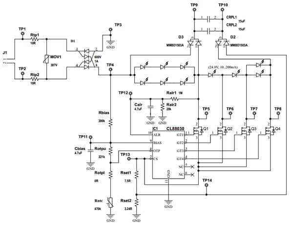 Типичная принципиальная электрическая схема оценочной платы для CL88030 с питанием от сети переменного тока 230 В