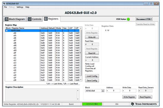 Окно GUI регистров АЦП ADS42LB69