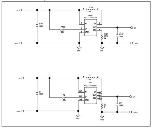 Схема принципиальная электрическая включения MAX17220 с минимальным количеством компонентов