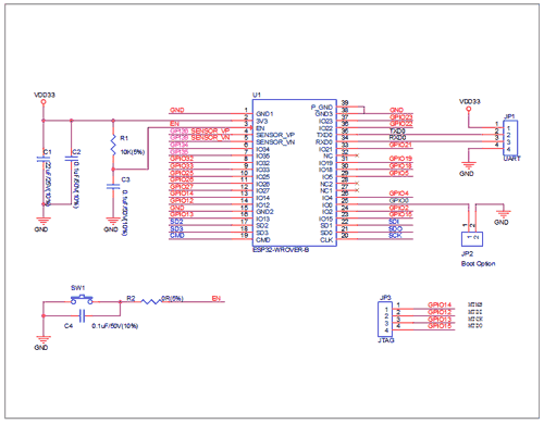 Схема принципиальная электрическая периферии модуля ESP32-WROVER-B
