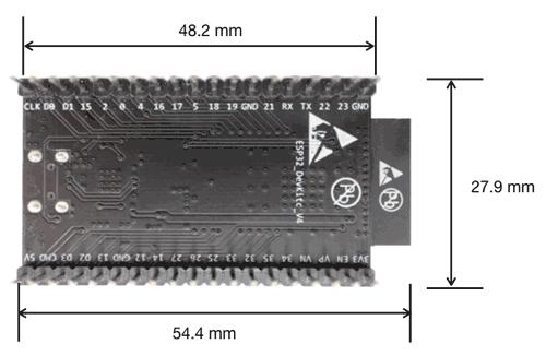 Размеры отладочной платы ESP32-DevKitC V4