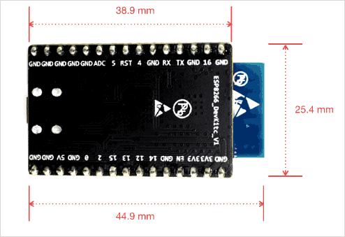 Размеры платы ESP8266-DevKitC