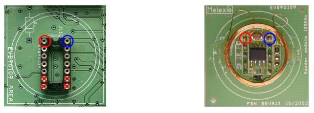 Оценочная плата EVB90109. Вид снизу (слева) и сверху (справа)