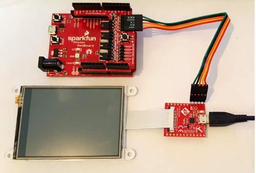 Gen4 дисплей, подключенный к адаптеру GEN4-PAи 5-проводное кабельное соединение с Arduino Adaptor Shield
