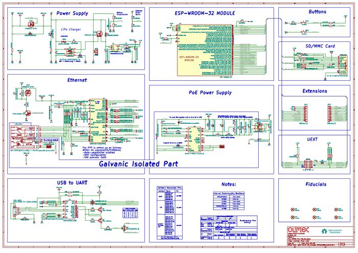 Схема принципиальная электрическая отладочной платы ESP32-PoE-ISO