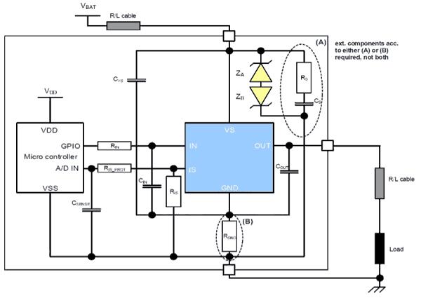 Схема приложения для BTS50010-1TAD
