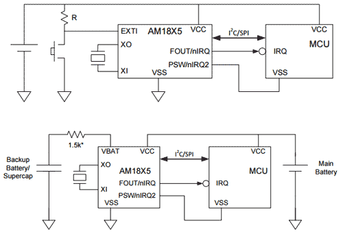 Типичные схемы включения чипов RTC AM18x5