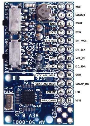 Распиновка 24-контактного разъема платы для версий с SPI (AM1815) и I2C (AM1805)