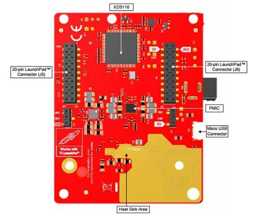 Расположение компонентов на плате IWR1642BOOST. Вид снизу