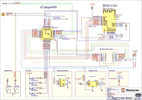Схемы принципиальная электрическая отладчика и встроенного преобразователя питания платы AVR IoT WG