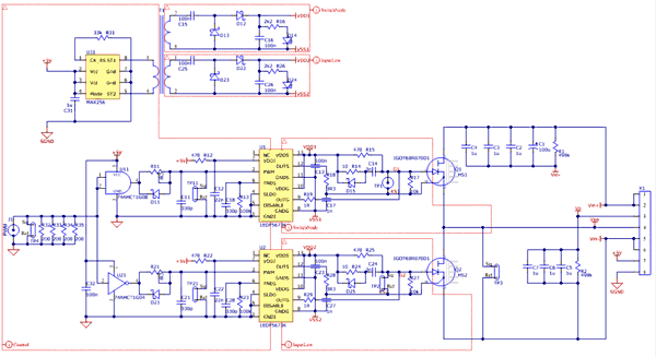 Схема принципиальная электрическая оценочной платы EVAL_1EDF_G1_HB_GAN