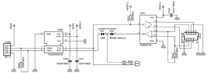 Схема цепей загрузки CPU через RS485/CAN с джамперами выбора интерфейса SJ1 и SJ2