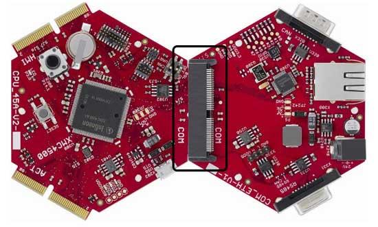 Плата COM_ETH-V1, подключенная к плате CPU_45A-V2 через сателлитный коннектор COM