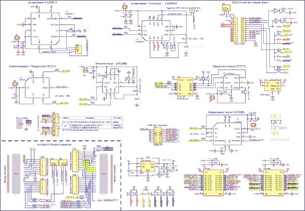 Схема принципиальная электрическая оценочной платы X-NUCLEO-IKS01A3