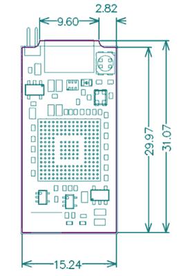 Размеры платы программатора/ отладчика STLINK-V3MINI