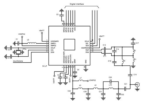 Пример приложения для трансивера S2-LP с использованием встроенного SMPS