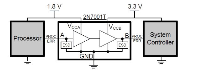 Пример использования микросхемы 2N7001T для приложения, в котором требуется смещение уровня