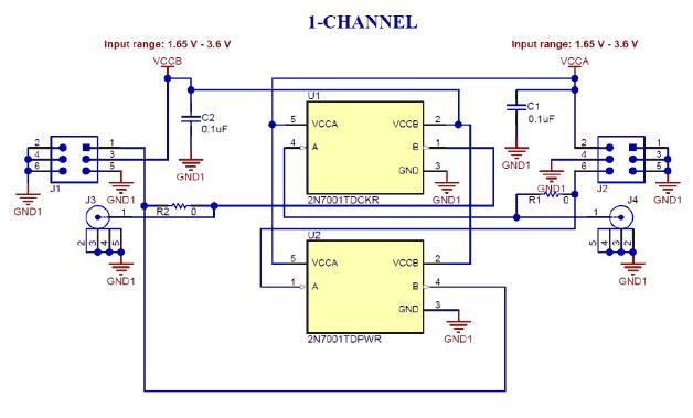 Схема принципиальная электрическая оценочного модуля 2N7001TEVM