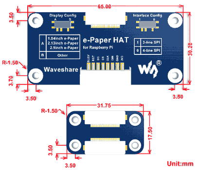 Размеры плат e-Paper HAT Driver