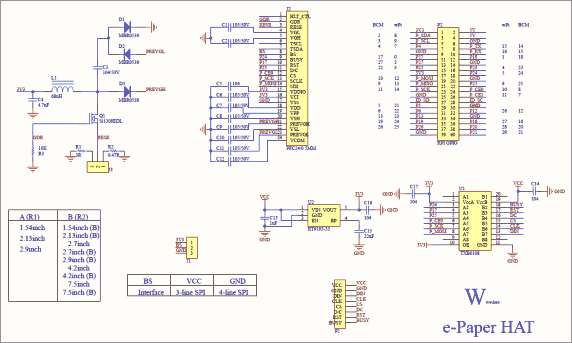 Схема принципиальная электрическая платы драйвера e-Paper Driver HAT