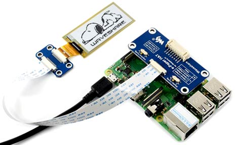 Изделие 2.13inch e-Paper HAT [D], подключенное к Raspberry Pi