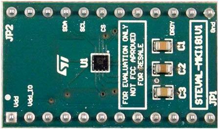 Плата-адаптер STEVAL-MKI181V1для оценки LIS2MDLвысокопроизводительного 3D магнитометра с цифровым выходом и ультранизким энергопотреблением