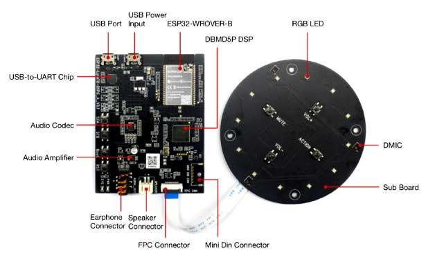 Расположение компонентов на платах ESP32-LyraTD-DSPG