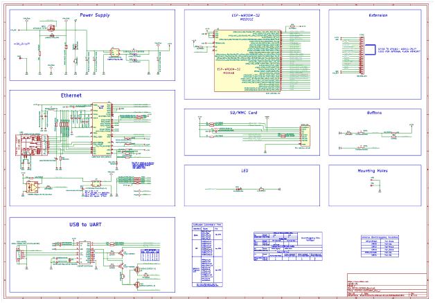 Схема принципиальная электрическая платы ESP32-GATEWAY версии C