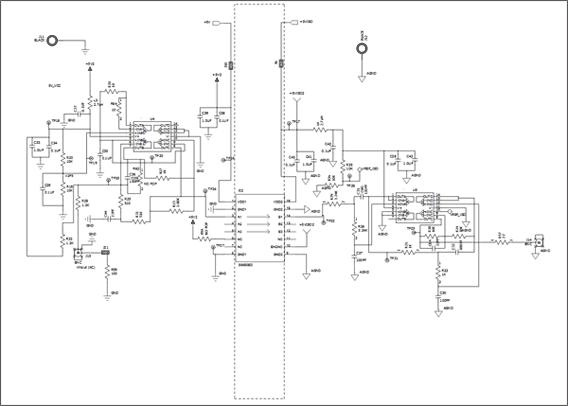 Схема принципиальная электрическая Цепи 2 платы Si86xxIsoLin (Si86xxIsoLin-EB)