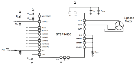 Типичная схема включения микросхемы STSPIN830 с одним шунтом