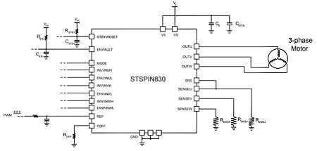 Типичная схема включения микросхемы STSPIN830 с тремя шунтами