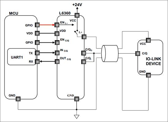 Пример приложения для микросхемы L6360 (I/Q не используется): IO-LINK device питается от вывода L+