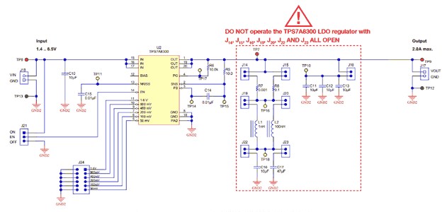 Схема принципиальная электрическая секции TI-PMLK TPS7A8300 LDO стабилизатора