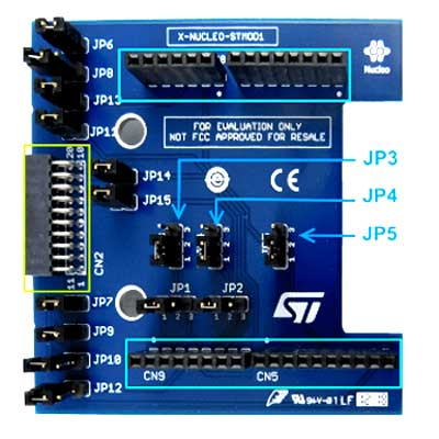Разъемы Arduino Uno R3 (выделены синим прямоугольником) и STMod+ (выделены зеленым прямоугольником) платы X-NUCLEO-STMODA1