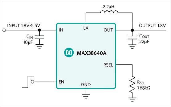 Типичная схема включения микросхем семейства MAX38640/1/2/3