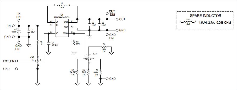Схема принципиальная электрическая платы MAX38643AEVK_WLP