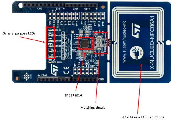 Расположение компонентов на плате X-NUCLEO-NFC06A1